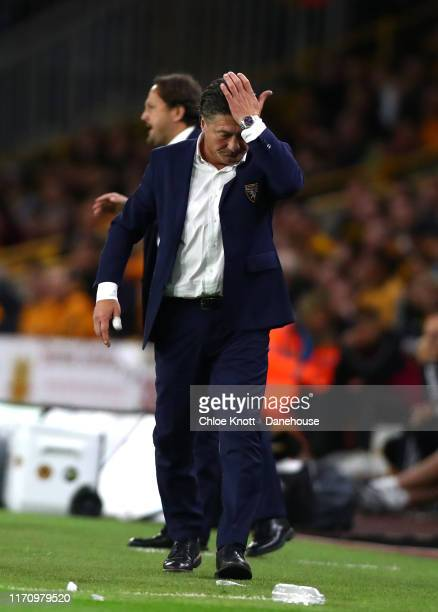 Torino FC manager Walter Mazzarri reacts during the second leg UEFA Europa League PlayOff match between Torino and Wolverhampton Wanderers at...