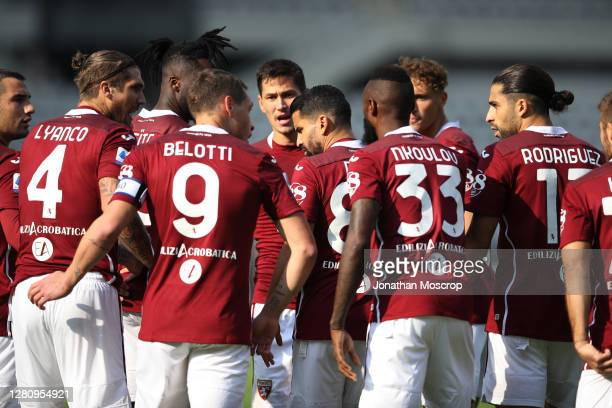 Torino FC players celebrate after captian Andrea Belotti scored a first half penalty to give the side a 10 lead during the Serie A match between...