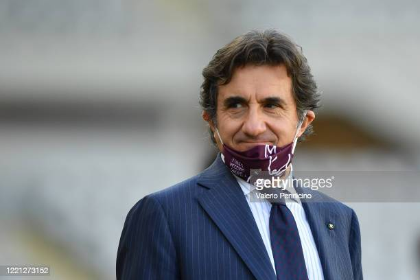 Torino FC president Urbano Cairo looks on during the Serie A match between Torino FC and Parma Calcio at Stadio Olimpico di Torino on February 23,...