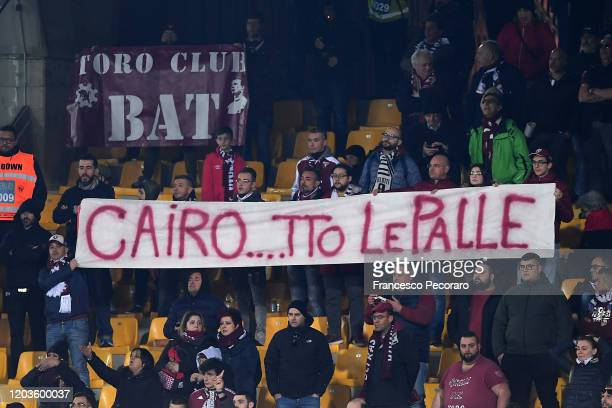Torino FC supporters banners during the Serie A match between US Lecce and Torino FC at Stadio Via del Mare on February 02 2020 in Lecce Italy