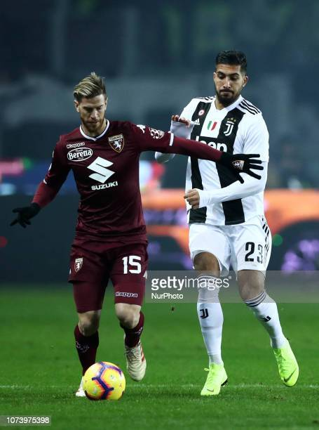 Torino Fc V Fc Juventus Serie A Cristian Ansaldi of Torino and Emre Can of Juventus at Stadio Olimpico Grande Torino in Turin Italy on December 15...