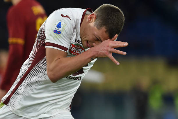 Torino football player Andrea Belotti celebrating after score the goal during the match RomaTorino in the Olimpic Stadium Rome January 05th 2020