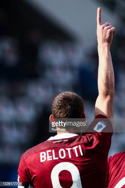 Torino forward Andrea Belotti celebrates after scoring his goal to make it 10 during the Serie A football match n4 TORINO CAGLIARI on October 18 2020...