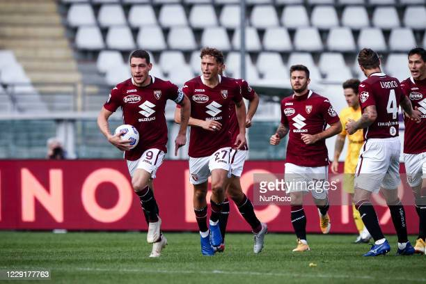 Torino forward Andrea Belotti celebrates with his teammates after scoring his goal to make it 22 during the Serie A football match n4 TORINO CAGLIARI...
