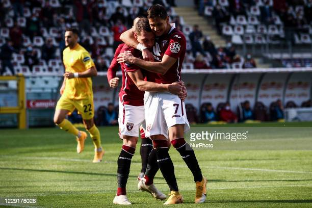 Torino forward Andrea Belotti celebrates with Torino midfielder Sasa Lukic after scoring his goal to make it 10 during the Serie A football match n4...