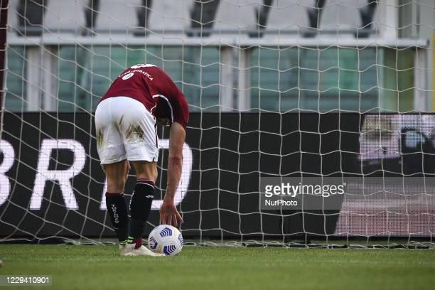 Torino forward Andrea Belotti prepares to shoot a penalty kick during the Serie A football match n.6 TORINO - LAZIO on November 01, 2020 at the...