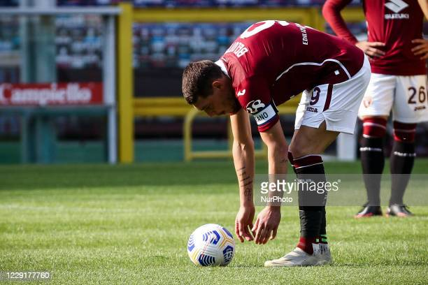 Torino forward Andrea Belotti prepares to shoot penalty kick during the Serie A football match n4 TORINO CAGLIARI on October 18 2020 at the Stadio...