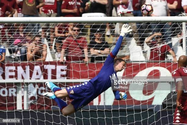Torino goalkeeper Joe Hart dives for the ball during the Serie A match between FC Torino and FC Crotone at Stadio Olimpico di Torino on April 15 2017...