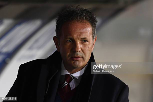 Torino head coach Sinisa Mihajlovic looks on during the Serie A match between FC Torino and Genoa CFC at Stadio Olimpico di Torino on December 22...