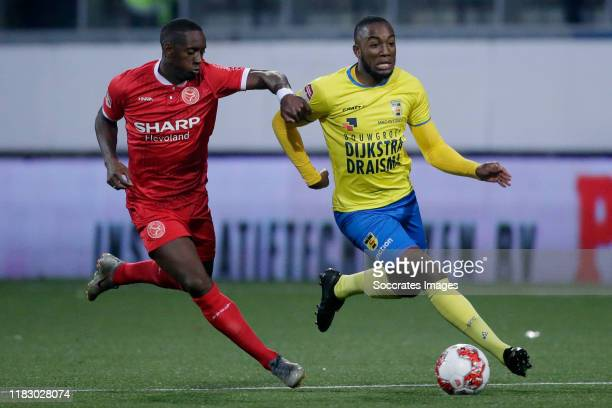 Torino Hunte of Almere City FC, Calvin Mac-Intosch of SC Cambuur during the Dutch Keuken Kampioen Divisie match between SC Cambuur v Almere City at...