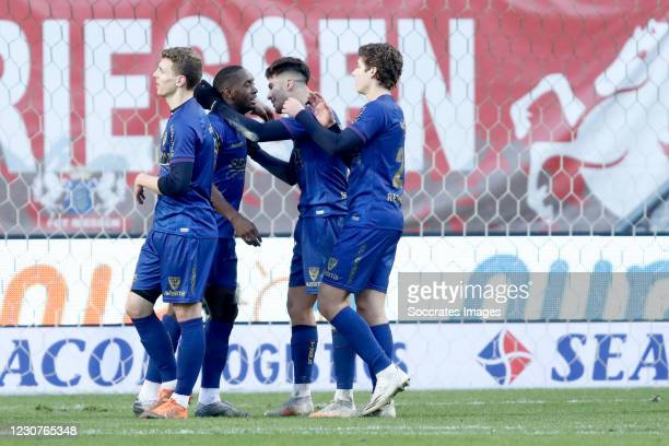 Torino Hunte of VVV Venlo celebrates 0-1 with Zinedine Machach of VVV Venlo, Evert Linthorst Of VVV Venlo during the Dutch Eredivisie match between...
