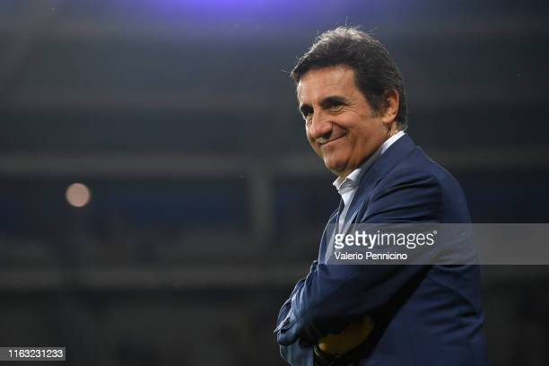 Torino president Urbano Cairo smiles during the UEFA Europa League Playoffs 1st Leg match between Torino and Wolverhampton Wanderers at Stadio...