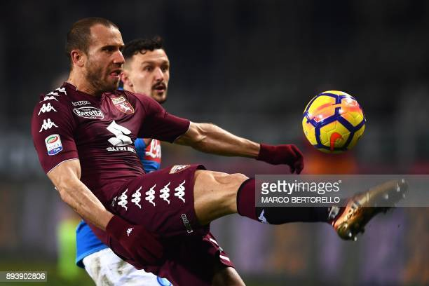 Torino's defender Lorenzo De Silvestri from Italy kicks the ball during the Italian Serie A football match Torino Vs Napoli on December 16 2017 at...