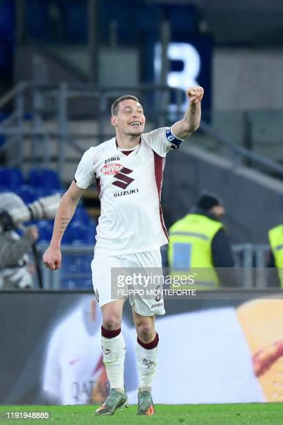 Torino's forward Andrea Belotti celebrates after he scored a goal during the Italian Serie A football match between Roma and Torino on January 5 2020...