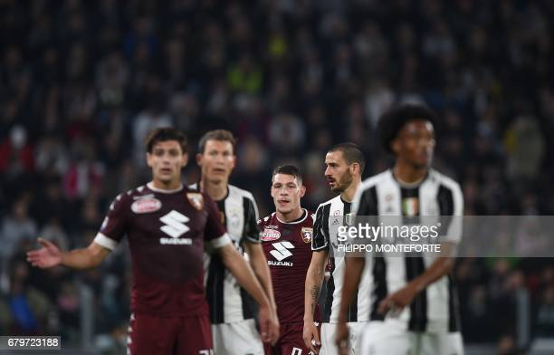 TOPSHOT Torino's forward from Italy Andrea Belotti looks on during the Italian Serie A football match Juventus vs Torino FC at the Juventus stadium...