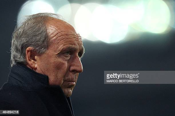 Torino's head coach Giampiero Ventura looks on during the Italian Serie A football match Torino Vs Napoli on March 1 2015 at the Olympic Stadium in...