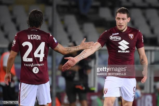 Torino's Italian forward Andrea Belotti celebrates with teammates during the Italian Serie A football match Torino vs Atalanta Bergamo at the Grande...