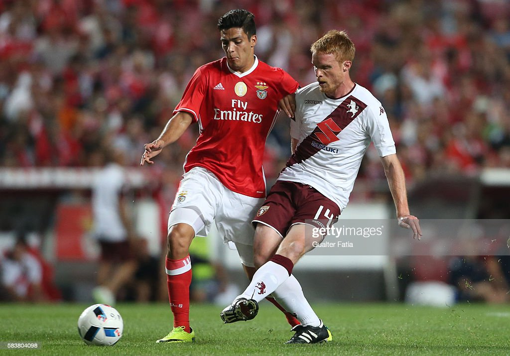 Torino's midfielder Alessandro Gazzi with SL Benfica's forward from Mexico Raul Jimenez in action during the Eusebio Cup match between SL Benfica and Torino at Estadio da Luz on July 27, 2016 in Lisbon, Portugal.