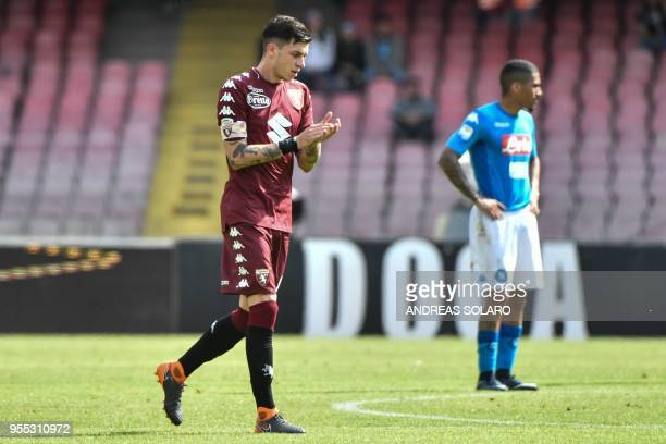 Torino's midfielder from Italy Daniele Baselli celebrates after scoring during the Italian Seriea A match Napoli versus Torino at the San Paolo...
