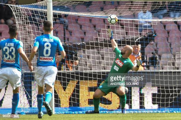 Torino's midfielder from Italy Daniele Baselli shoots and scores during the Italian Seriea A match Napoli versus Torino at the San Paolo Comunal...
