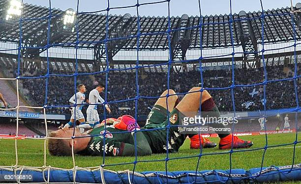Torinos player Joe Hart stands disappointed during the Serie A match between SSC Napoli and FC Torino at Stadio San Paolo on December 18 2016 in...