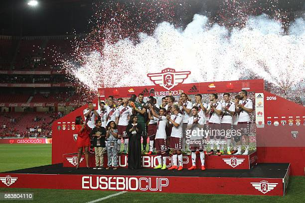 Torino«s players receving the Eusebio Cup Trophy at the end of the match between SL Benfica and Torino for the Eusebio Cup at Estadio da Luz on July...