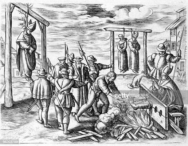 Torments inflicted to catholic bishops by machiavelists protestants in Ireland after the Reform Engraving of the time