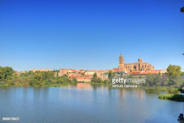 tormes river and the new cathedral of salamanca, spain - geschichtlich stockfoto's en -beelden
