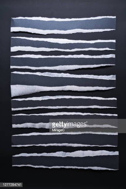 torn black paper stripes with white edge - part of stock pictures, royalty-free photos & images