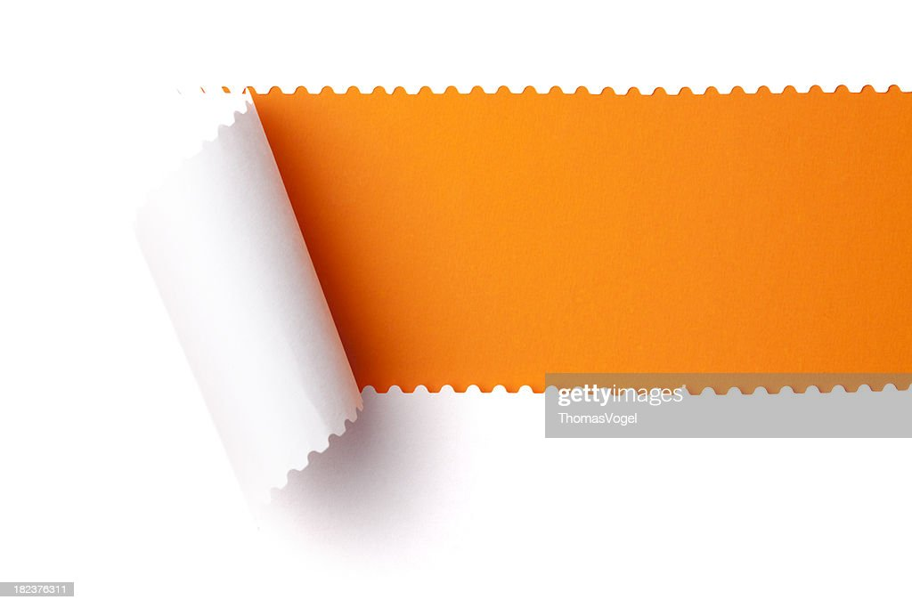 Torn paper. Discovery Emergence Tearing perforated Rolled Up Background : Stock Photo