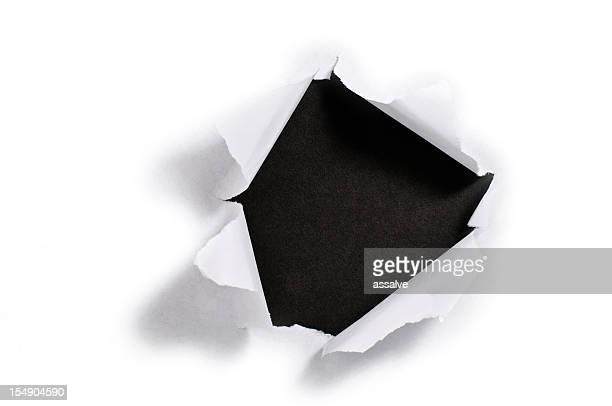 Zerrissen Papier Loch