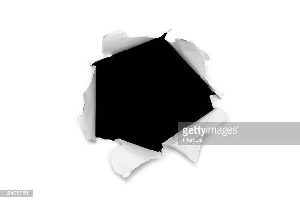 torn paper hole - appearance stock photos and pictures