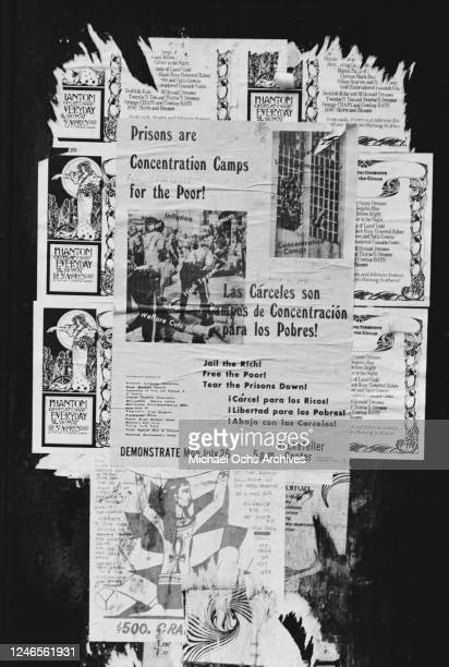 Torn poster for a demonstration against the prison system outside the Rockefeller in New York City, 1971. The poster reads 'Prisons are Concentration...