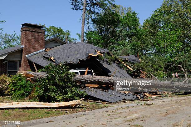 tornado damaged home and car - storm season tornadoes stock photos and pictures