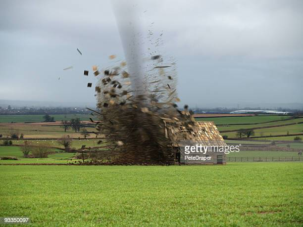 tornado destroying barn - tornado stock pictures, royalty-free photos & images