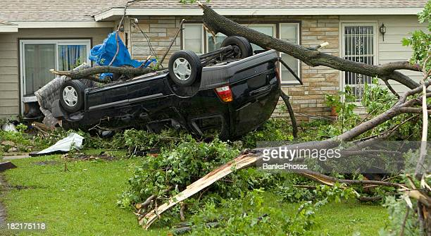 tornado flipped van - tornado stock pictures, royalty-free photos & images