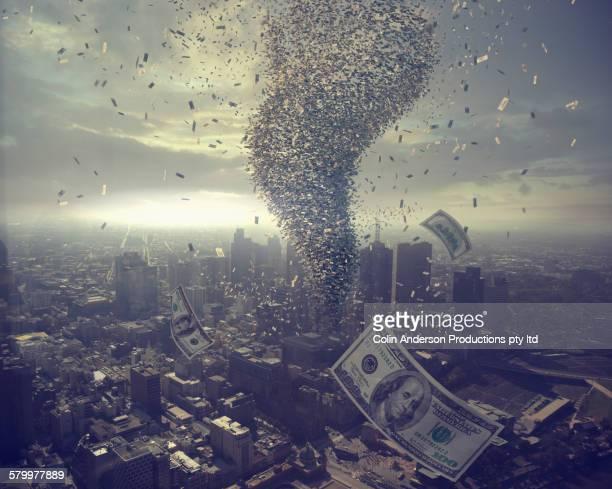 tornado of money over cityscape - melbourne storm stockfoto's en -beelden