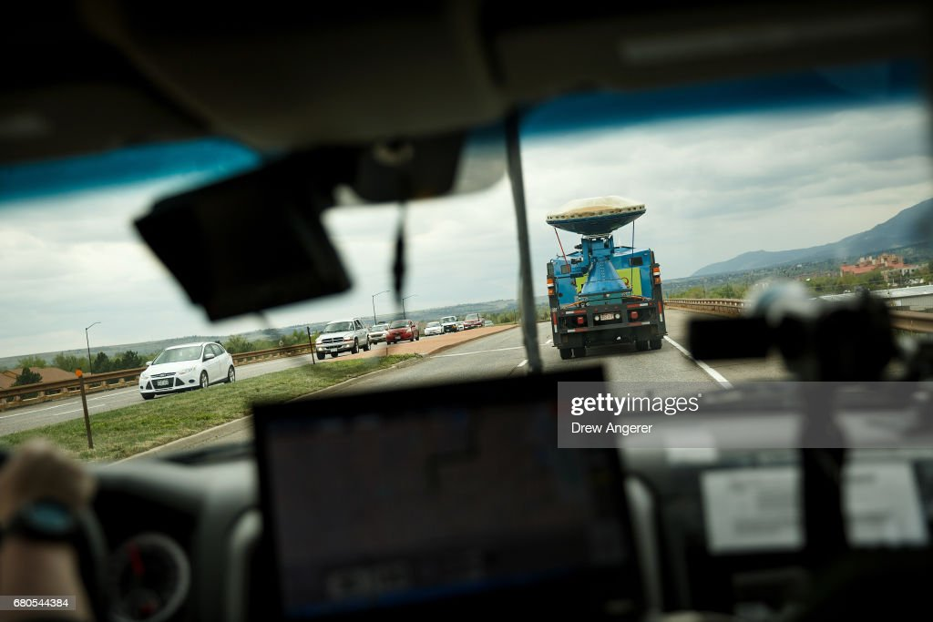 A tornado scout vehicle hits the road with the Doppler on