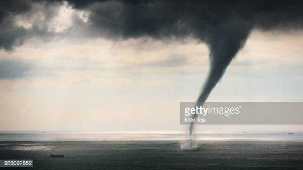 tornado sea view - tornado stock pictures, royalty-free photos & images