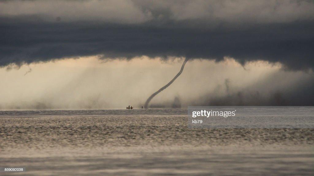 Tornado storm over lake Malawi : Stock Photo