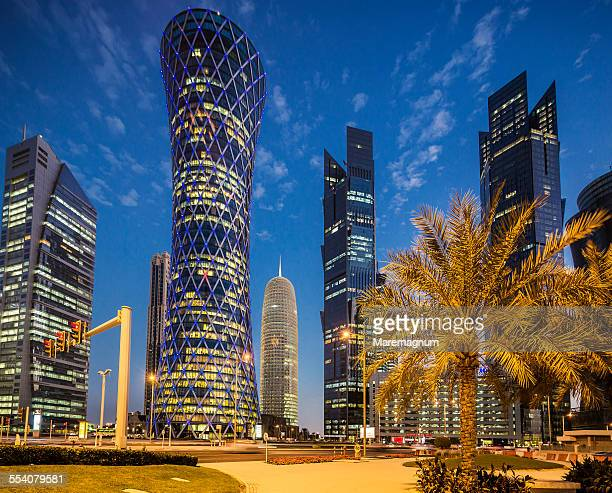 tornado tower and one of the palm towers - doha stock-fotos und bilder