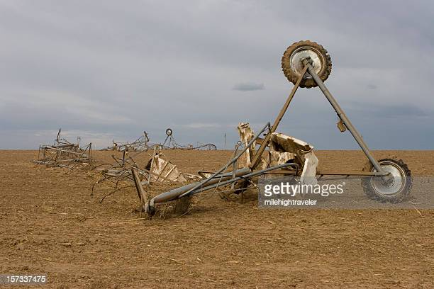 tornado twisted and crumpled farm sprinkler system, greeley,colorado - greeley colorado stock photos and pictures