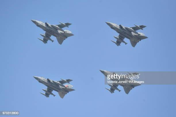 Tornadoes during a flypast over Buckingham Palace in central London following the Trooping the Colour ceremony at Horse Guards Parade as the Queen...
