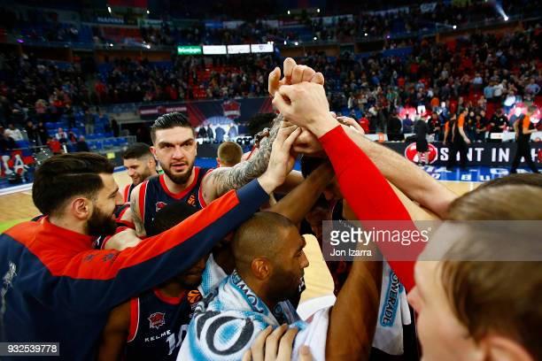 Tornike Shengelia #23 of Baskonia Vitoria Gasteiz celebrates during the 2017/2018 Turkish Airlines EuroLeague Regular Season Round 26 game between...