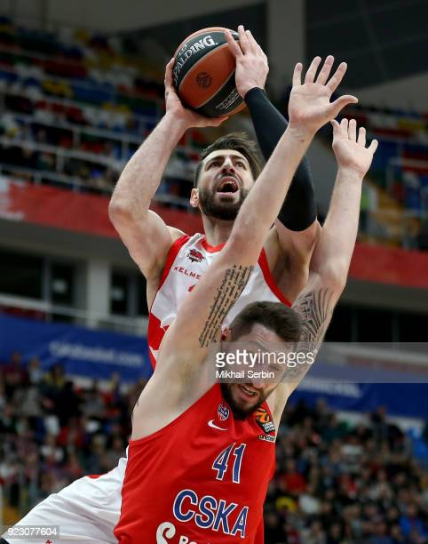 Tornike Shengelia #23 of Baskonia Vitoria Gasteiz competes with Nikita Kurbanov #41 of CSKA Moscow in action during the 2017/2018 Turkish Airlines...