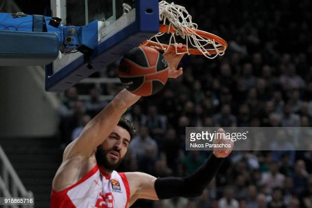 Tornike Shengelia #23 of Baskonia Vitoria Gasteiz in action during the 2017/2018 Turkish Airlines EuroLeague Regular Season Round 22 game between...