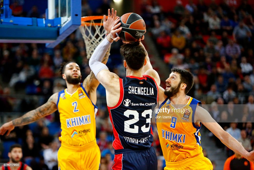 Tornike Shengelia, #23 of Baskonia Vitoria Gasteiz in action during the 2017/2018 Turkish Airlines EuroLeague Regular Season Round 24 game between Baskonia Vitoria Gasteiz and Khimki Moscow Region at Fernando Buesa Arena on March 1, 2018 in Vitoria-Gasteiz, Spain.