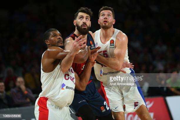 Tornike Shengelia #23 of Kirolbet Baskonia Vitoria Gasteiz competes with Kyle Hines #42 of CSKA Moscow during the 2018/2019 Turkish Airlines...