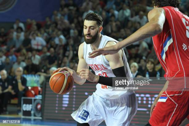Tornike Shengelia of Georgia drives the ball during the FIBA Basketball World Cup Qualifier match between Georgia and Serbia at Tbilisi Sports Palace...