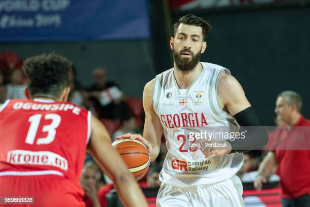 Tornike Shengelia of Georgia drives the ball during the FIBA Basketball World Cup Qualifier match between Georgia and Austria at Tbilisi Sports...